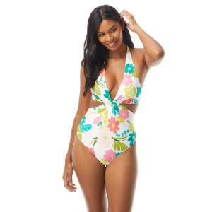 Kate Spade Knotted Halter One Piece Swimsuit - Tropical Floral