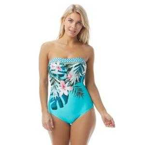 Coco Contours Galena Bandeau Bra Sized One Piece Swimsuit - Tropicale