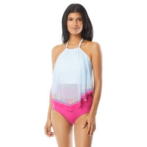 Coco Reef Aura Mesh Ruffle Cropped Bra Sized Underwire Tankini Top - Playa Dot