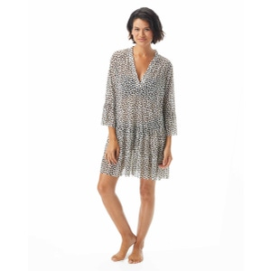 Coco Reef Enchant Bell Sleeve Mesh Cover Up Dress - Cheetah