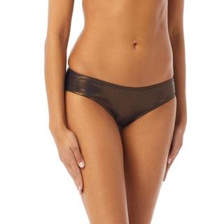 Vince Camuto Metallic Shirred Smooth Fit Cheeky Bikini Bottom - Sun Shine