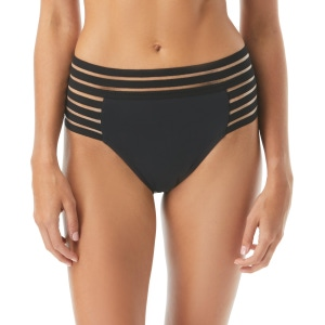 Vince Camuto Mesh Elastic High Waist Bikini Bottom - Coast Lines
