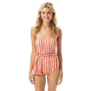 Vince Camuto Bandeau Belted One Piece Swimsuit - Hammock Stripe