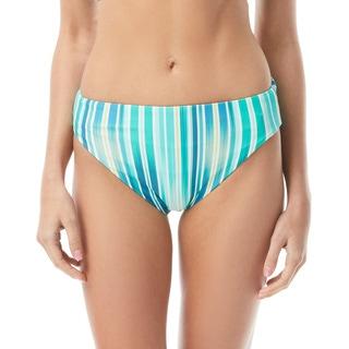 Vince Camuto Reversible High Leg High Waist Bikini Bottom - Mediterranean Sea Stripe