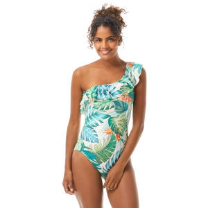 Vince Camuto Ruffle One Shoulder One Piece Swimsuit - Lush Tropic